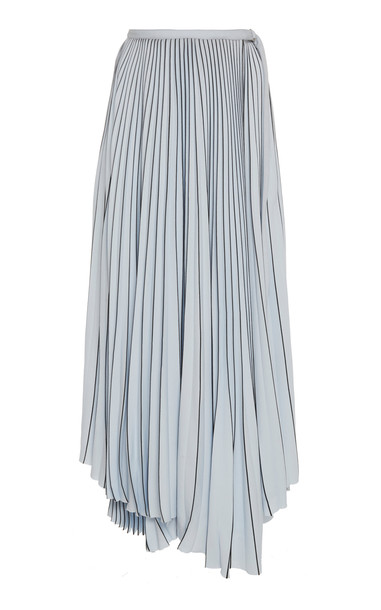 Proenza Schouler Asymmetric Pleated Crepe Maxi Skirt in blue