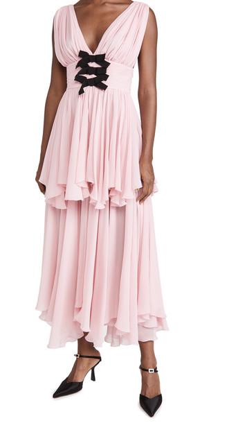 Giambattista Valli Bow Gown in grey / rose
