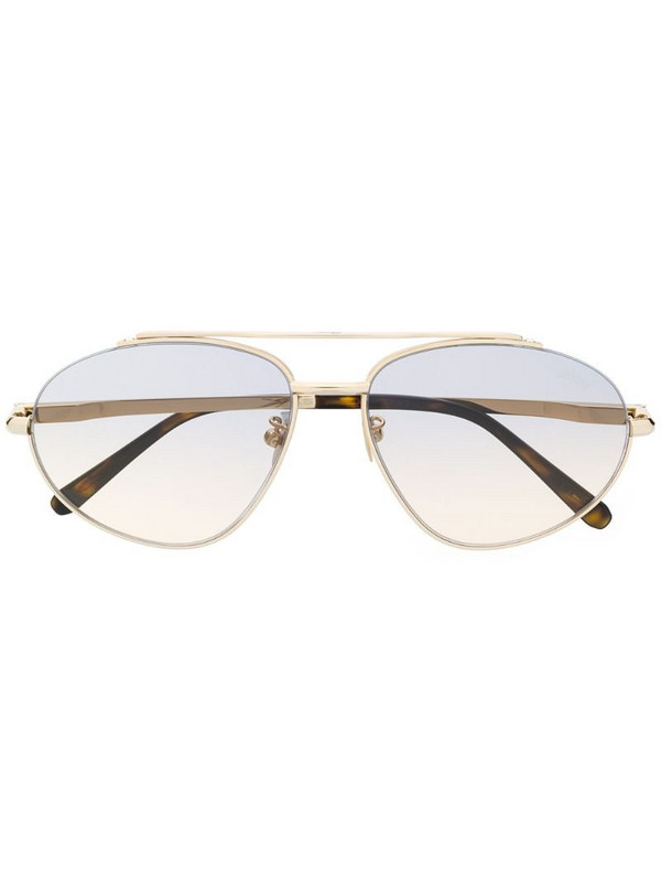 Brioni two-tone aviator-frame sunglasses in gold