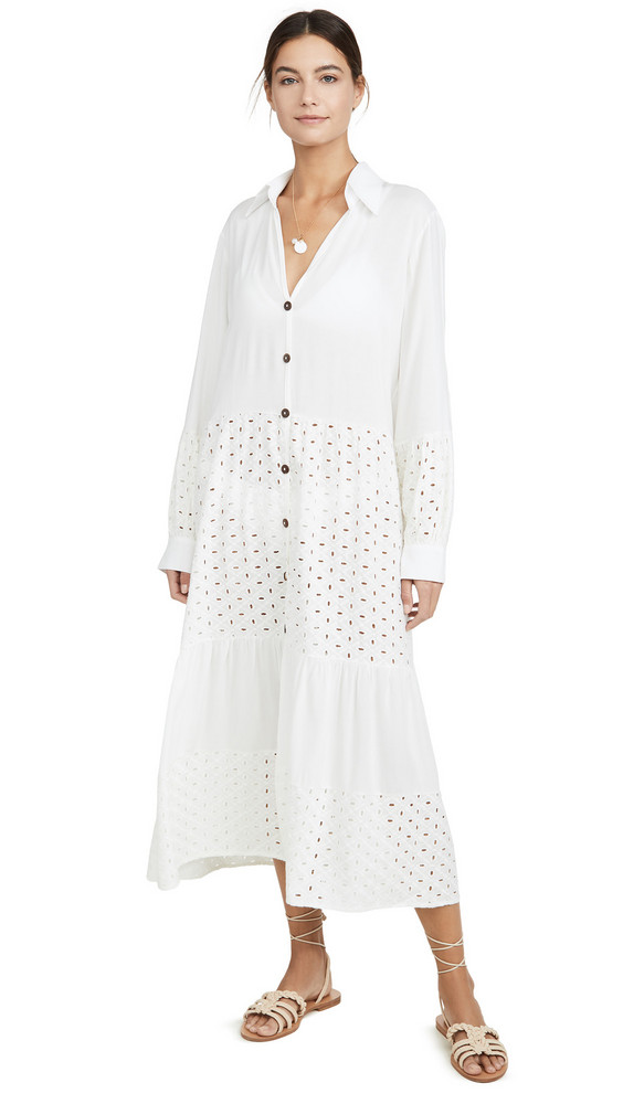 Palmacea Mixed Long Cover Up Dress in ivory