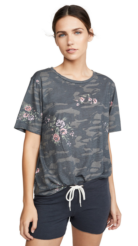 MONROW Camo Oversized Crew Tee with Floral in black
