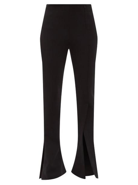 A.w.a.k.e. Mode - Slit-cuff Crepe Flared-leg Trousers - Womens - Black
