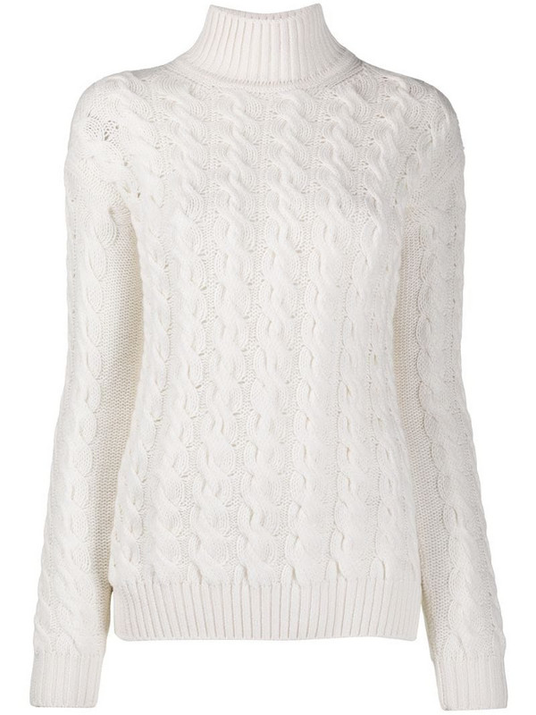 Gentry Portofino chunky cable knit cashmere jumper in neutrals