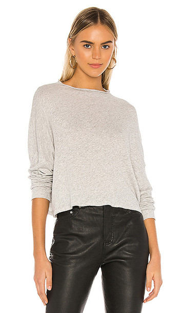 Chaser Funnel Neck Drop Shoulder Dolman Tee in Gray