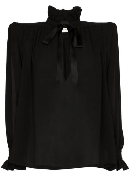 Saint Laurent structured-shoulder silk blouse in black