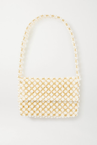 Vanina - Net Sustain The Pearl Mist Faux Pearl And Gold-plated Shoulder Bag - White