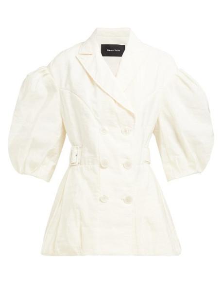 Simone Rocha - Puff Sleeve Double Breasted Crepe Jacket - Womens - Light Yellow