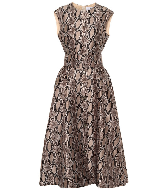 MSGM Snake-print midi dress in beige
