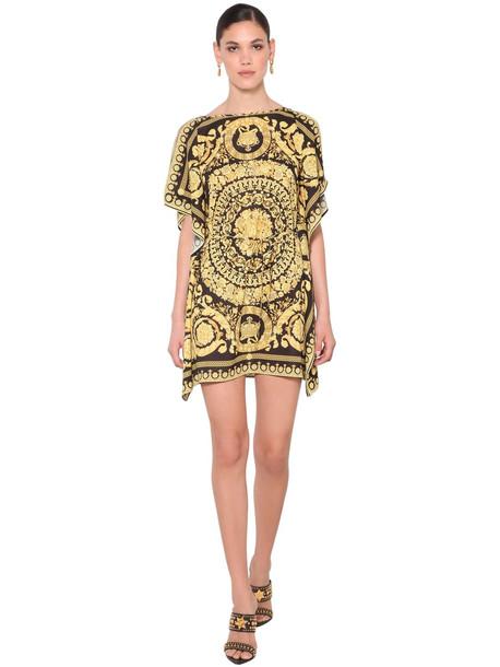 VERSACE Printed Georgette Caftan Mini Dress