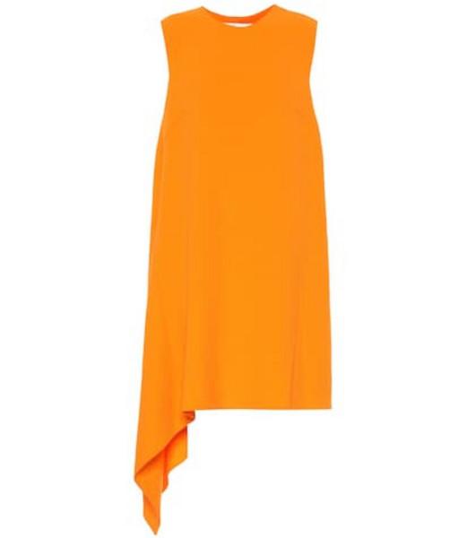 Oscar de la Renta Wool-blend crêpe dress in orange