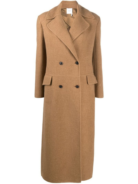 Agnona double-breasted long coat in brown