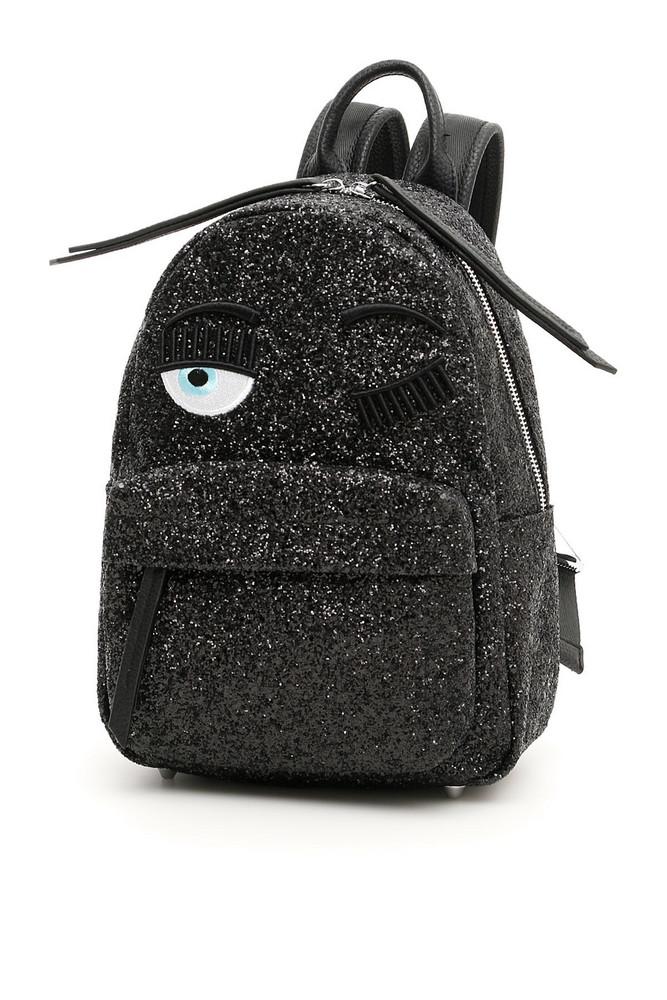Chiara Ferragni Small Glitter Flirting Backpack in black