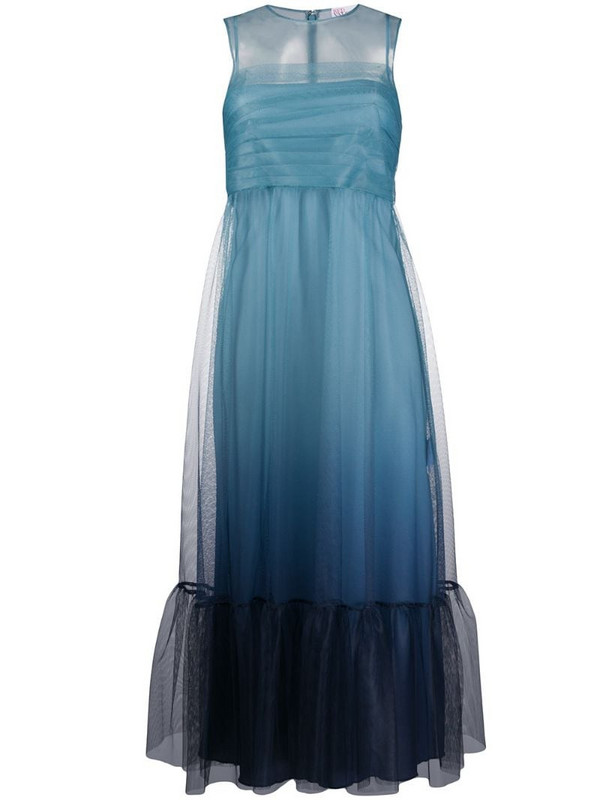 RedValentino layered sheer-panel dress in blue