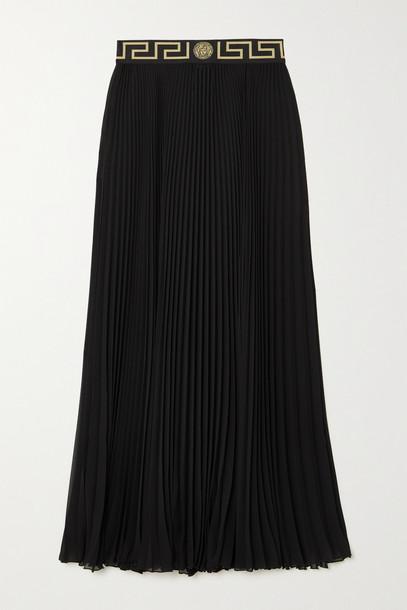 Versace - Pleated Chiffon Maxi Skirt - Black
