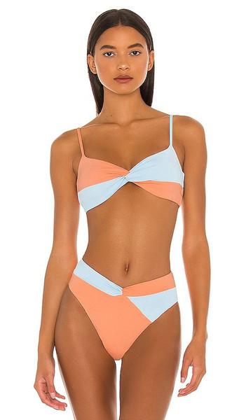 L*SPACE Ringo Bikini Top in Peach in blue