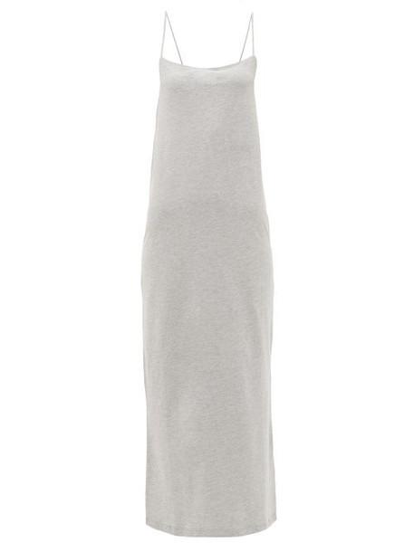 Raey - Square-neck Cotton-blend Jersey Slip Dress - Womens - Grey