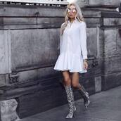 dress,shirt dress,white dress,mini dress,long sleeve dress,knee high boots,snake print,bag