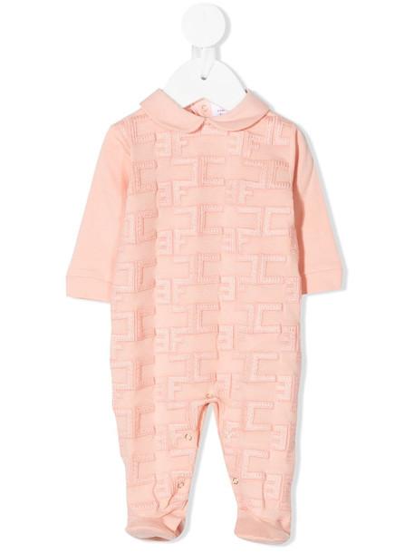 Elisabetta Franchi La Mia Bambina monogram-pattern cotton romper - Pink