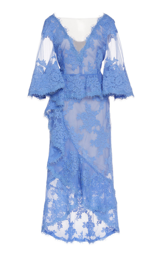 Marchesa Embroidered Lace Cocktail Dress Size: 0 in blue