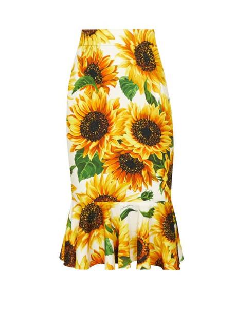 Dolce & Gabbana - Peplum Sunflower Print Knee Length Skirt - Womens - Yellow Multi