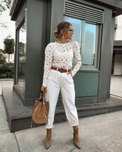 pants,high waisted pants,zara,ankle boots,white top,embroidered,suede,shoulder bag