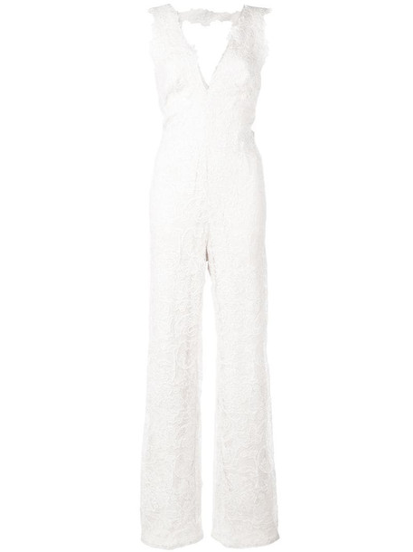 Tadashi Shoji broderie lace jumpsuit in white