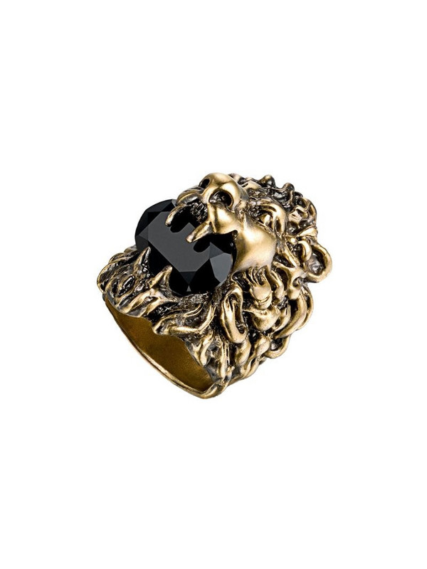 Gucci Lion head ring with Swarovski in gold