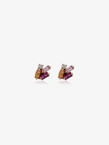 Suzanne Kalan Rainbow Sapphire Diamond Earrings in gold