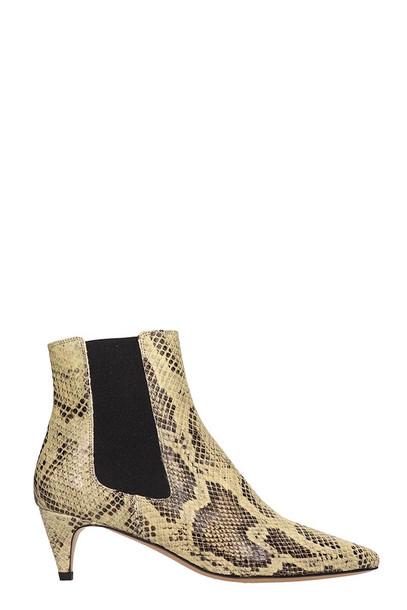Isabel Marant Detty Natural Snake Print Ankle Boots