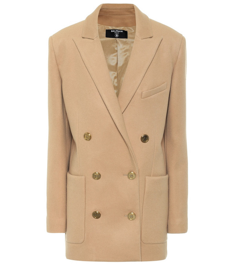 Balmain Wool and cashmere blazer in beige