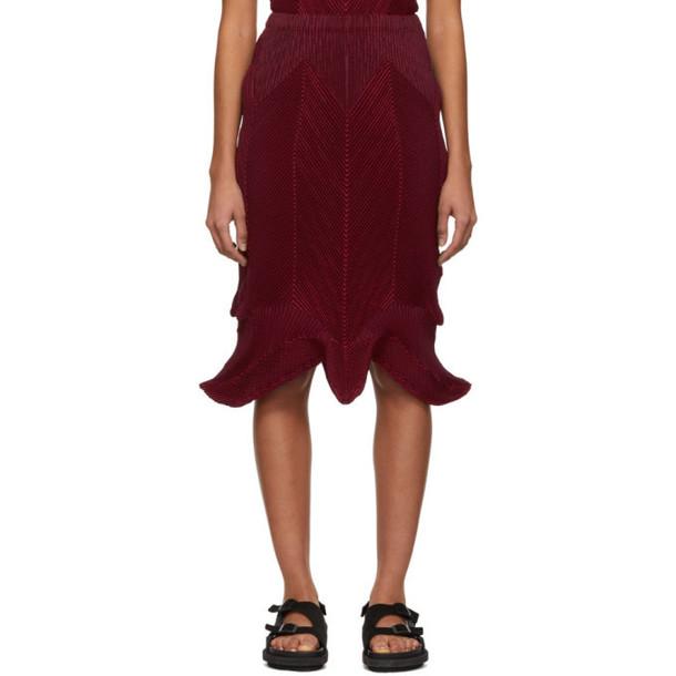 Issey Miyake Red Seed Stretch Skirt