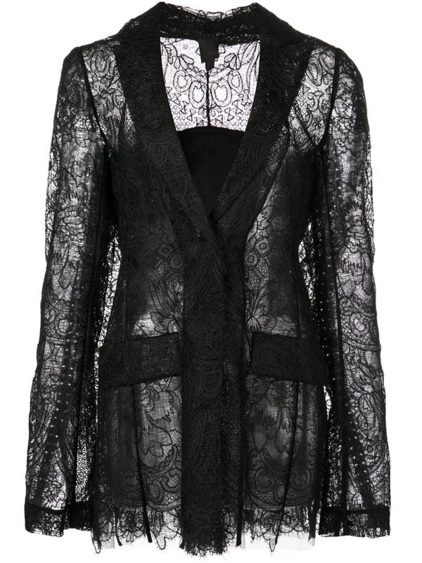 Vera Wang sheer lace fitted jacket in black