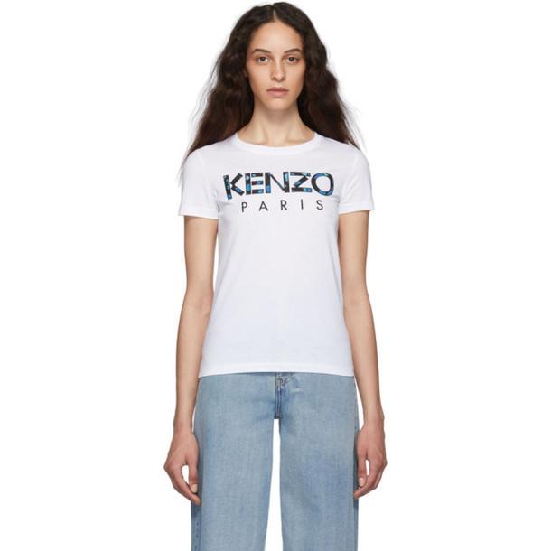 Kenzo White Peonies Logo T-Shirt