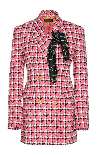 Versace Printed Cotton-Blend Blazer Size: 38 in pink