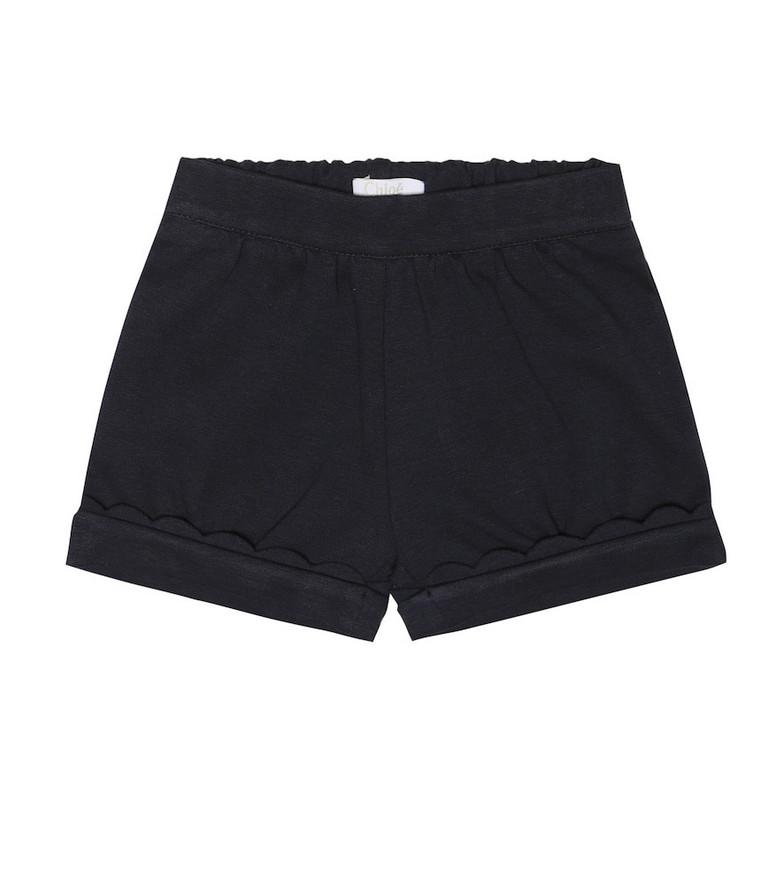 Chloé Kids Baby stretch cotton blend shorts in black