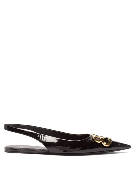 Balenciaga - Bb Patent Leather Slingback Flats - Womens - Black