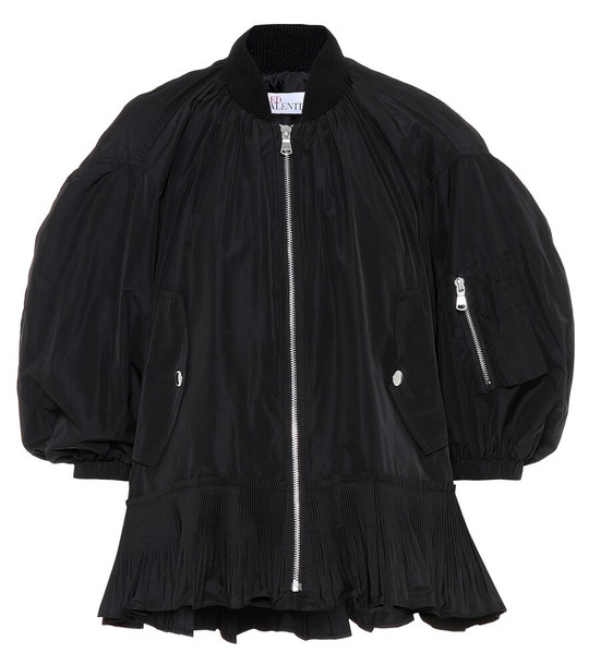 REDValentino Ruffle-trimmed bomber jacket in black