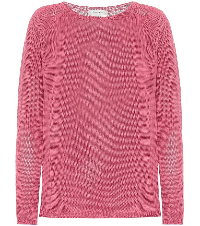 S Max Mara Giolino linen boatneck sweater in pink
