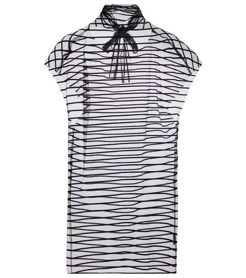 Dries Van Noten Striped mesh tie-neck top