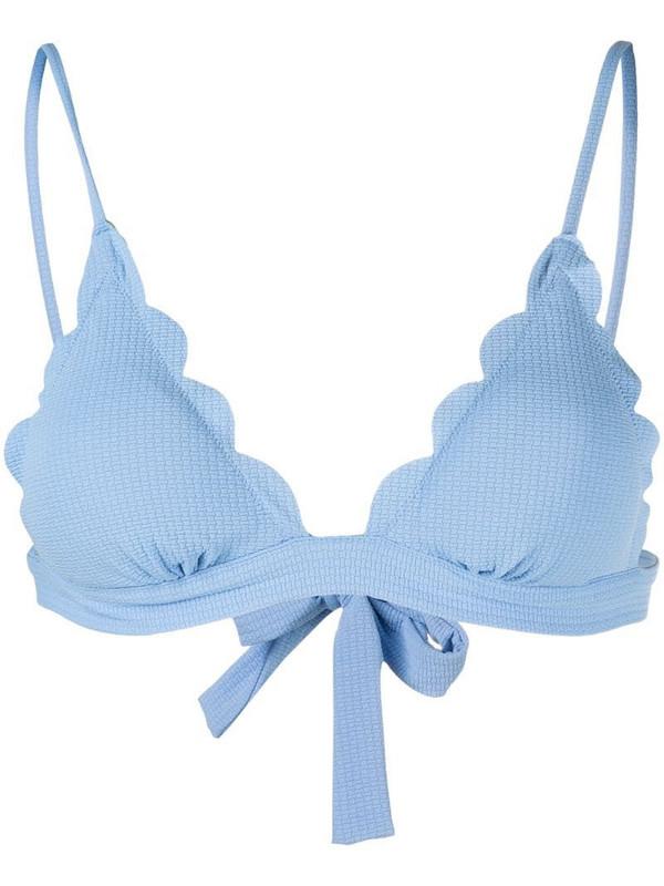 Marysia scalloped edge bikini top in blue