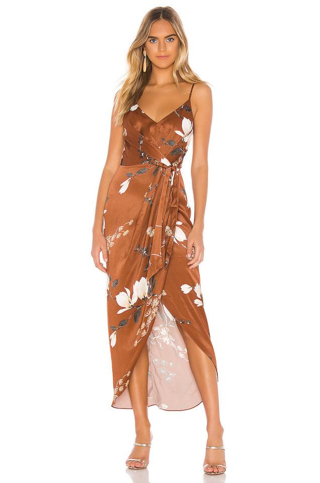Shona Joy St Lucia Tie Front Draped Midi Dress in brown