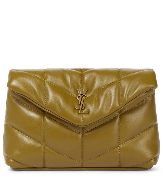Saint Laurent Loulou Puffer leather clutch in green