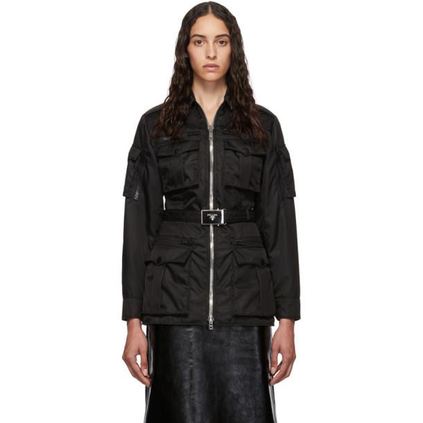 Prada Black Belted Military Jacket