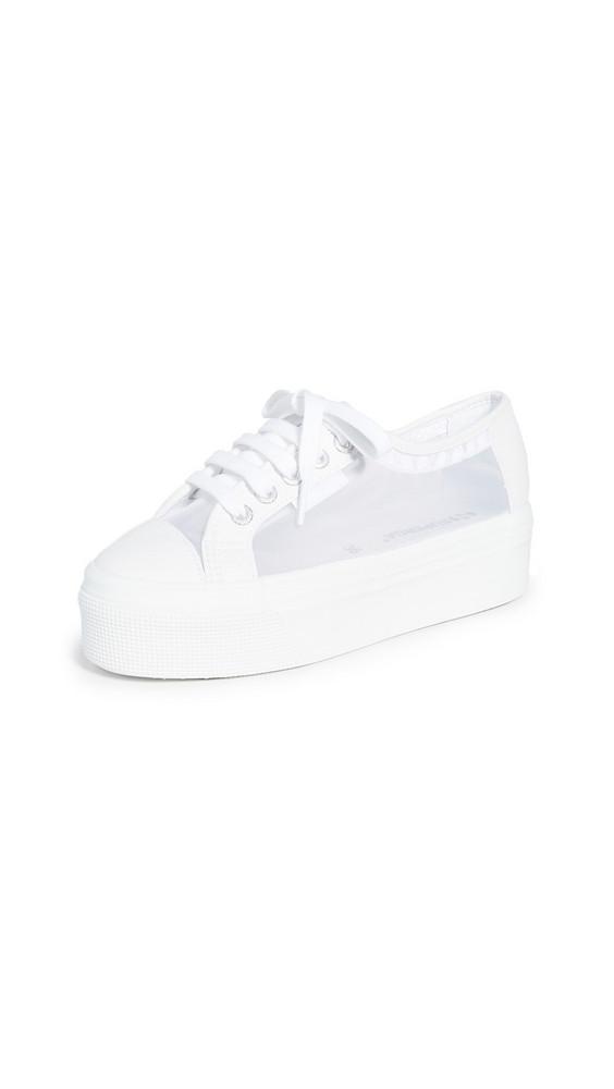 Superga 2790 Mesh Platform Sneakers in white