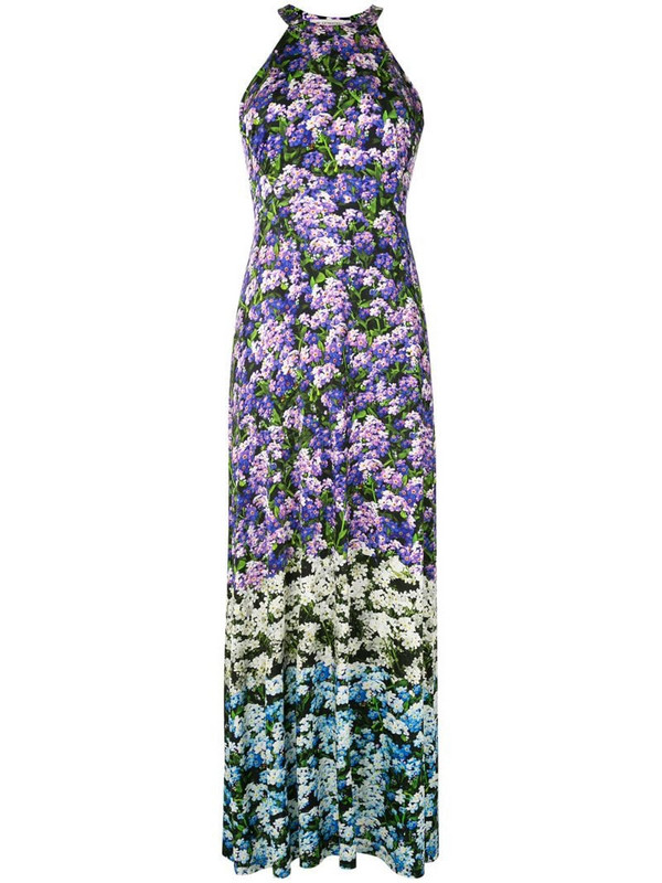 Mary Katrantzou floral print pleated skirt dress in purple