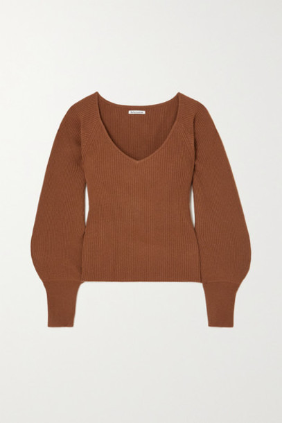 Reformation - Hart Ribbed Cashmere Sweater - Brown
