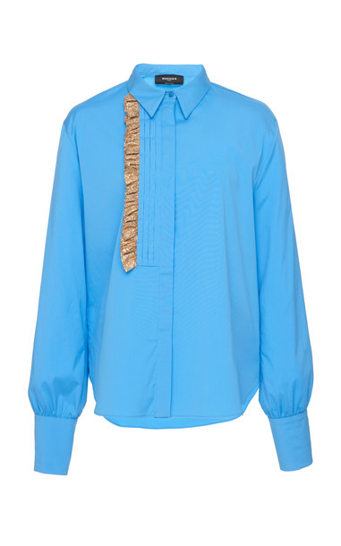 Rochas Orsolina Cotton-Blend Ruffle Shirt in blue