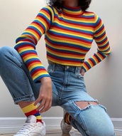 shirt,rainbow socks,straight pants,rainbow,polo shirt,polo sweater,trendy,long sleeves,sweater,yellow,red,blue,orange,crop tops,jeans,ripped jeans,socks,soft grunge,instagram,pinterest,Reebok,white sneakers,ribbed top