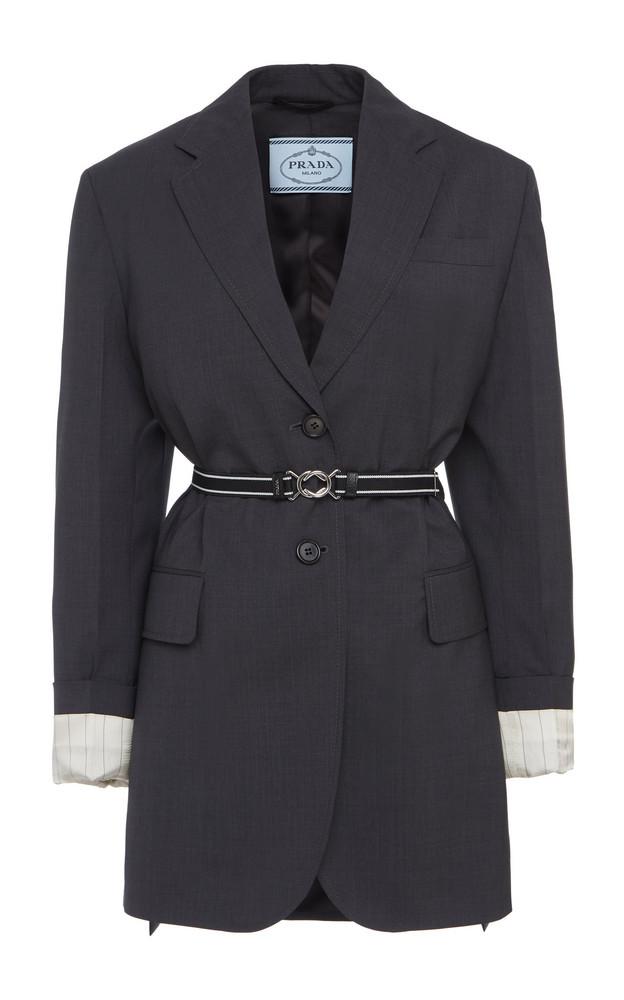Prada Long Belted Blazer in grey