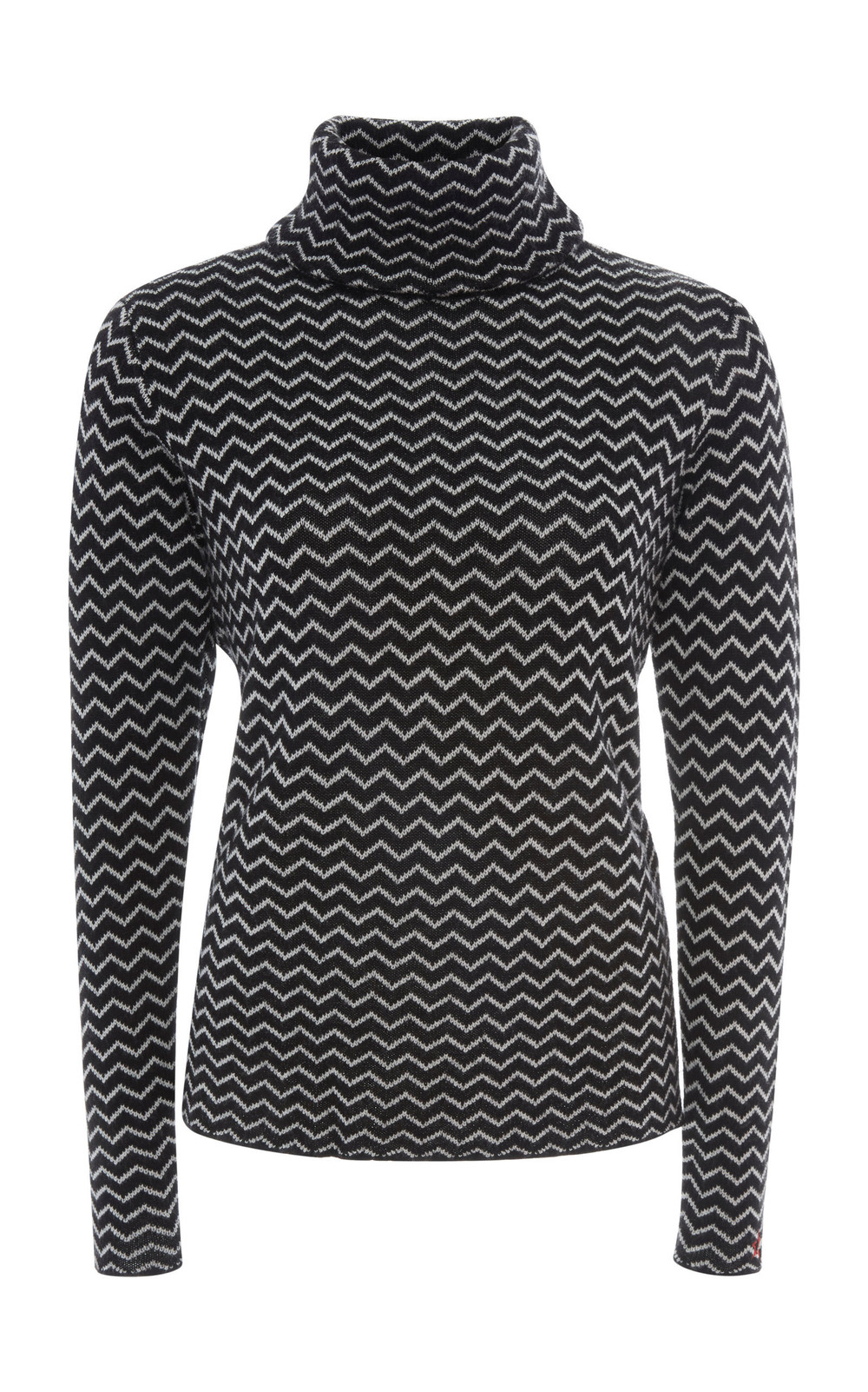 Perfect Moment Frequency Intarsia-Knit Wool Turtleneck Sweater in black / white